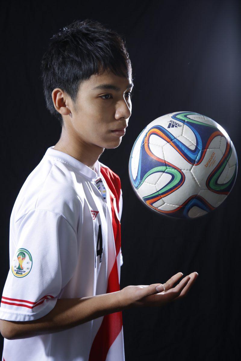 サッカー選手のプロフィール写真撮影